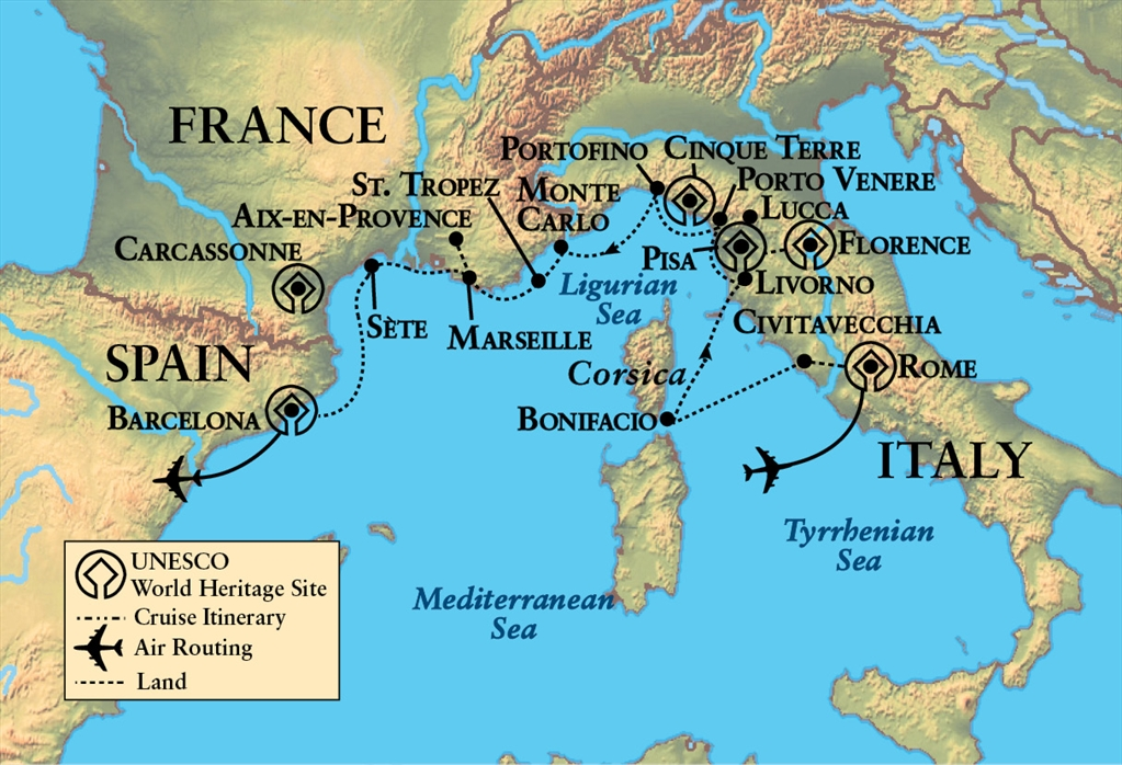 Map Of France Italy And Spain.Northwestern Alumni Association Rivieras And Islands Of France